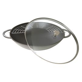 Staub Specialities, Wok con coperchio in vetro rotondo - 37 cm, grigio grafite