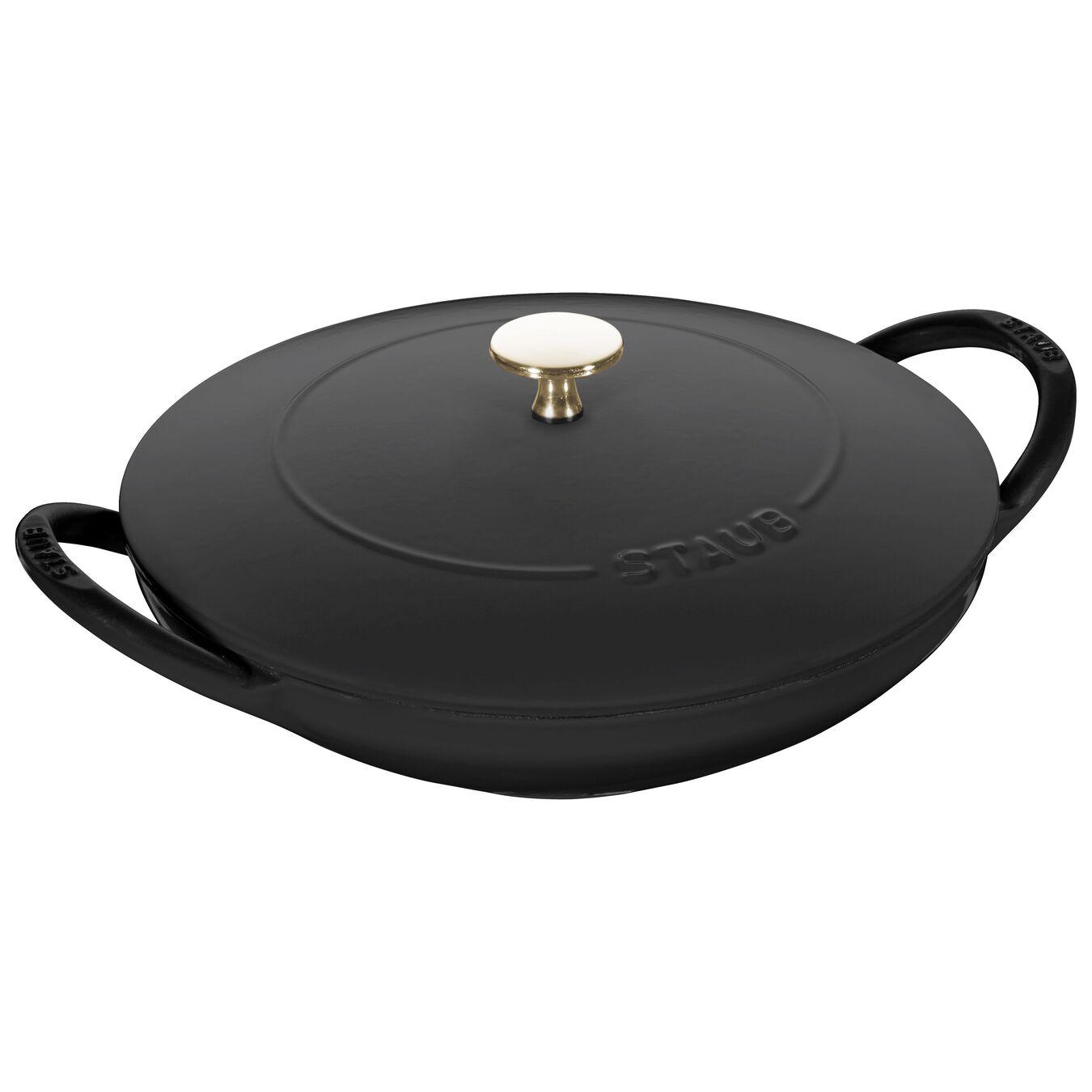 24 cm / 9.5 inch Cast iron Wok, Black,,large 1