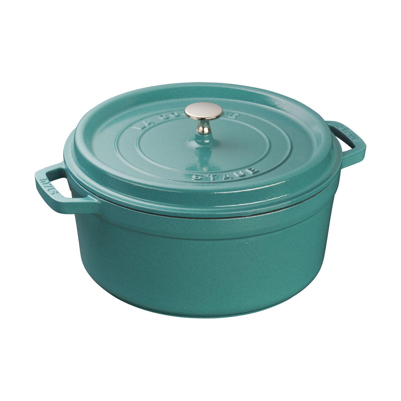5.5 qt, round, Cocotte, turquoise,,large 1