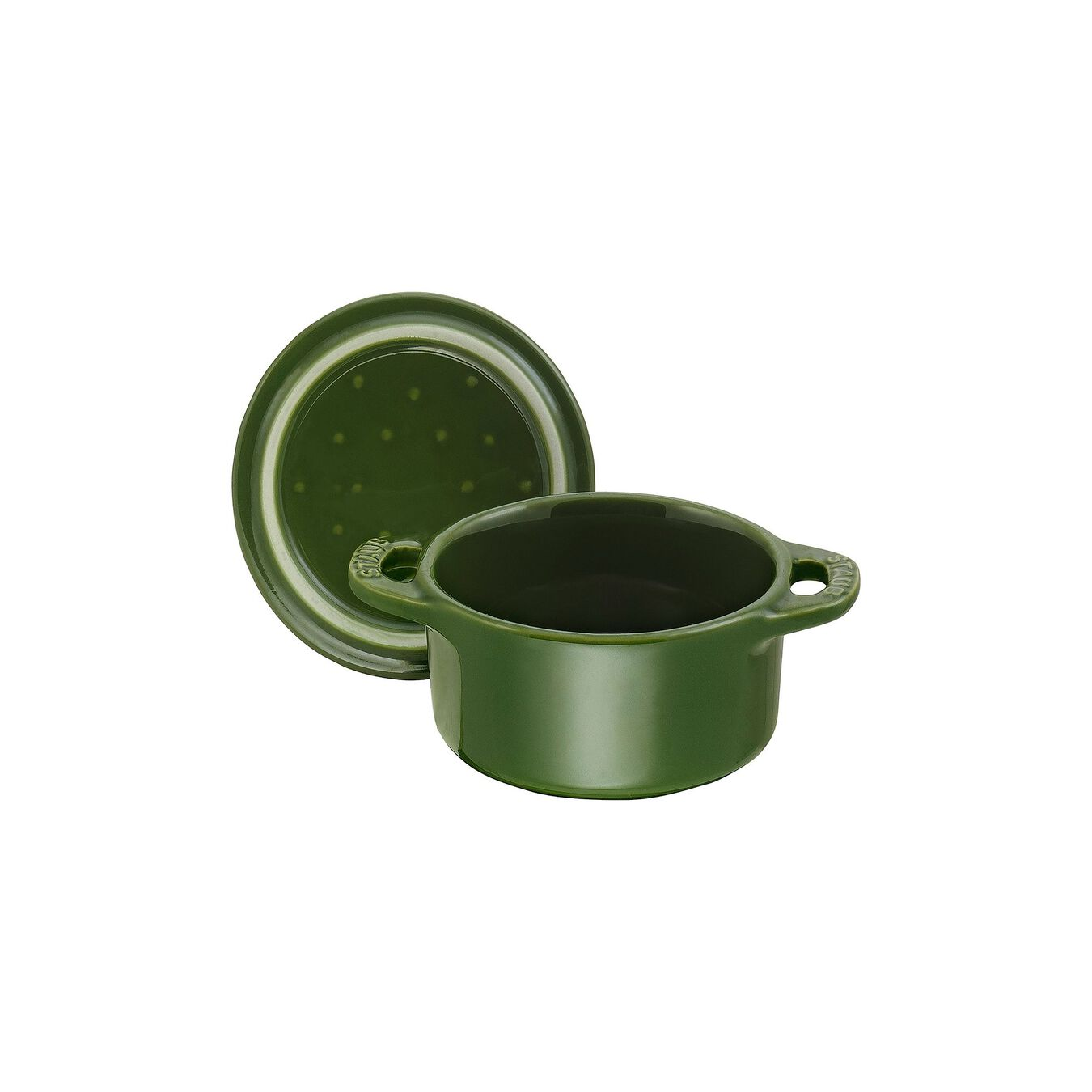 Mini Cocotte 10 cm, rund, Basilikum-Grün, Keramik,,large 2