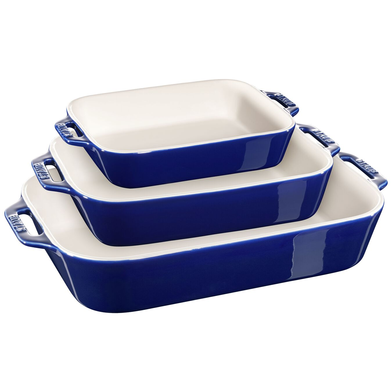 3-pc, Ovenware set, dark blue,,large 1