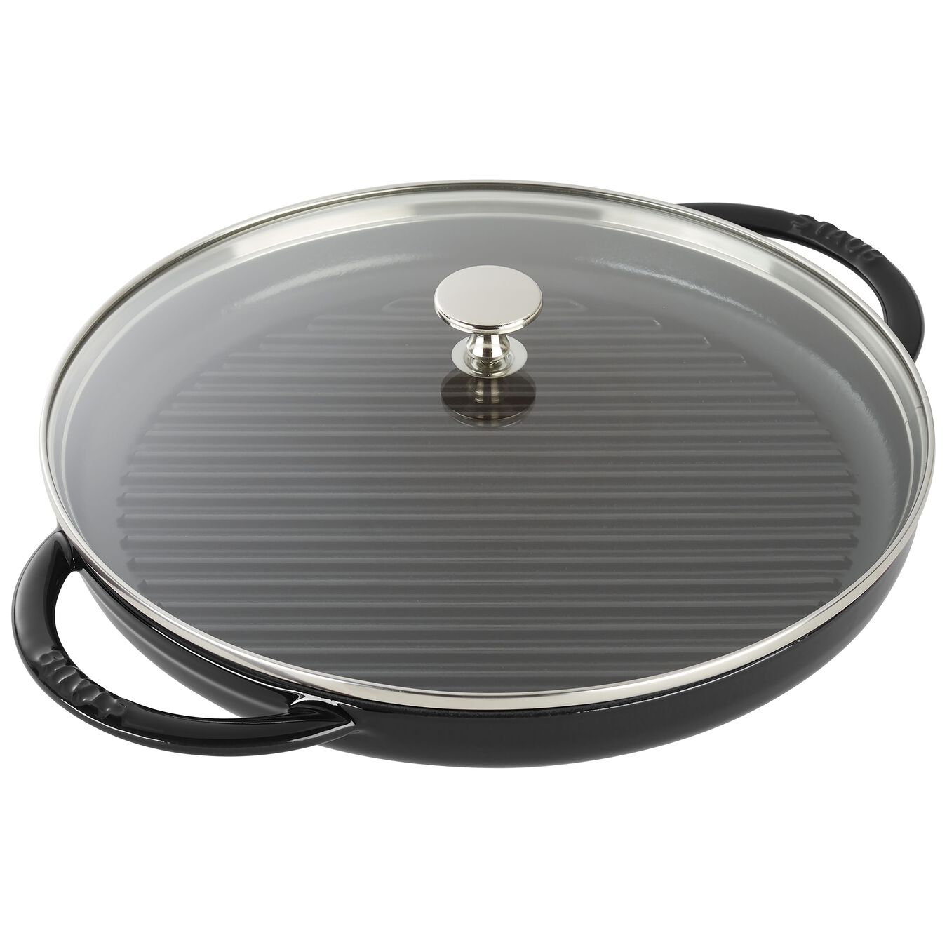 round, Grill pan with glass lid, black matte,,large 2