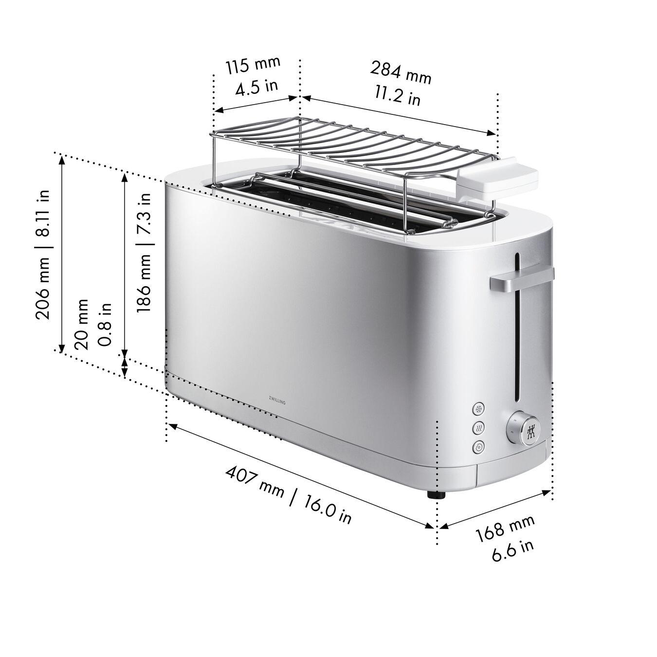 Toaster mit Brötchenaufsatz, 2 Schlitze lang, Silber,,large 9