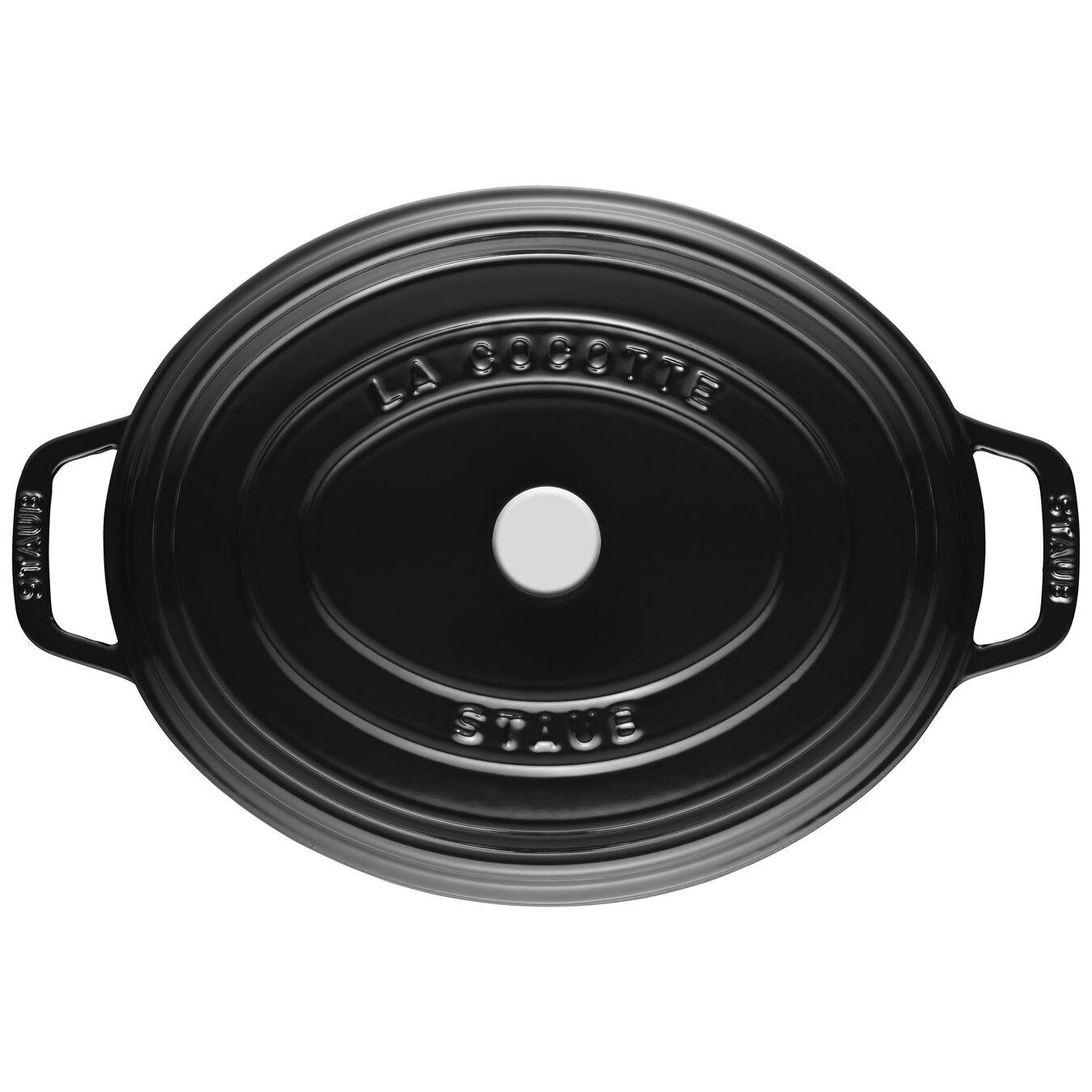 Cocotte 31 cm, Ovale, Noir brillant, Fonte,,large 4