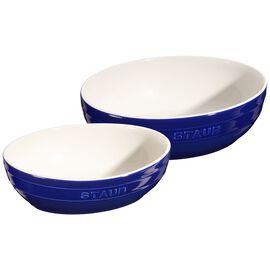 Staub Ceramique, 2-pcs Ceramic oval Bowl set, dark-blue