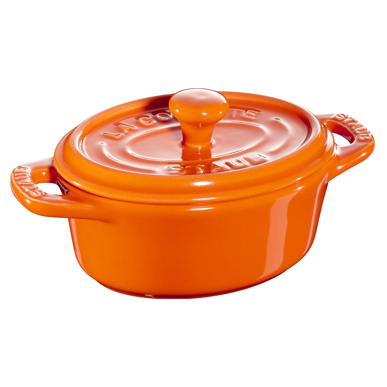Mini Cocotte 11 cm, oval, Orange, Keramik,,large 1