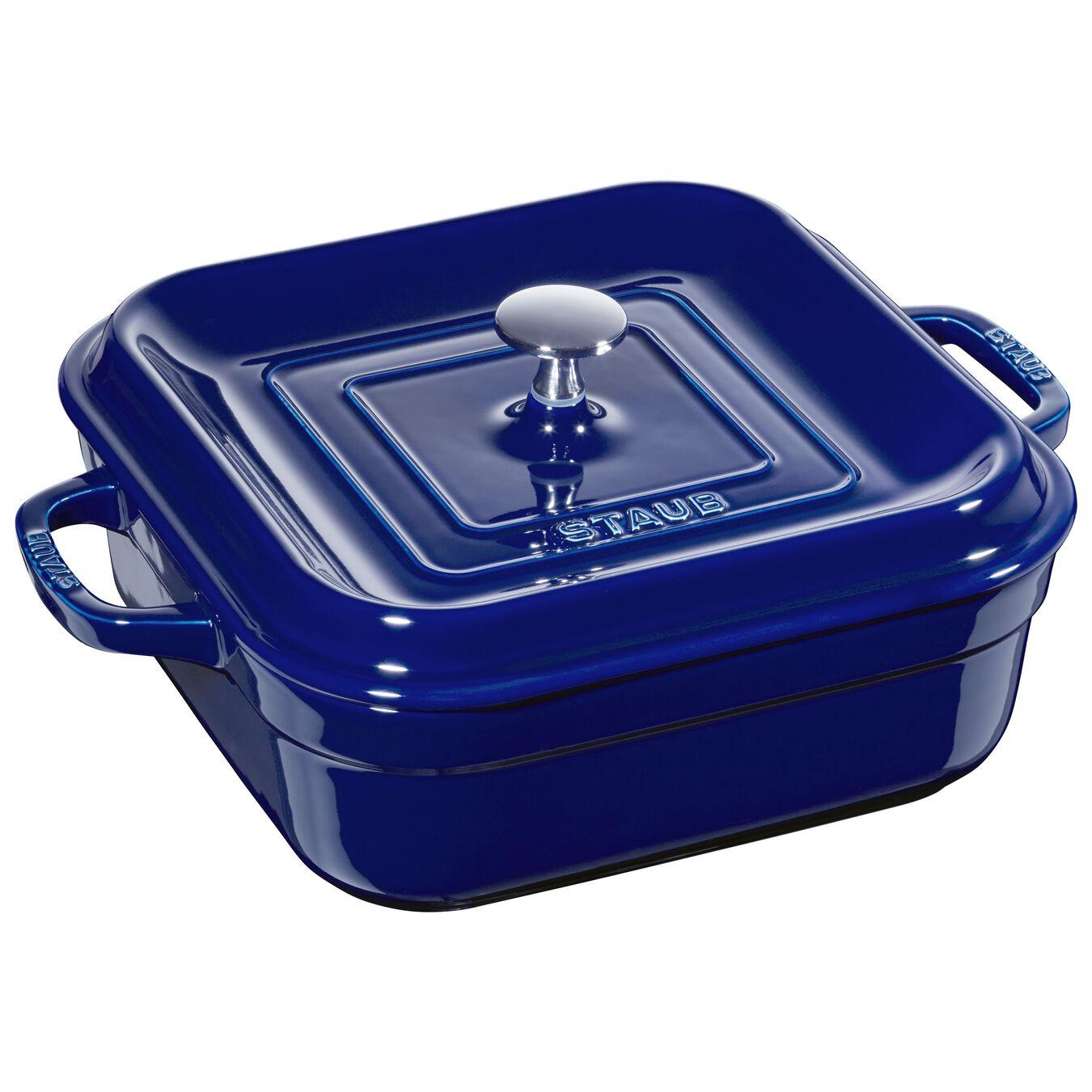 Ceramic square Plat empilable, Dark-Blue,,large 1