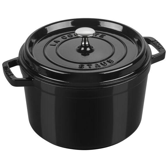 5-qt round Cocotte, Shiny black,,large