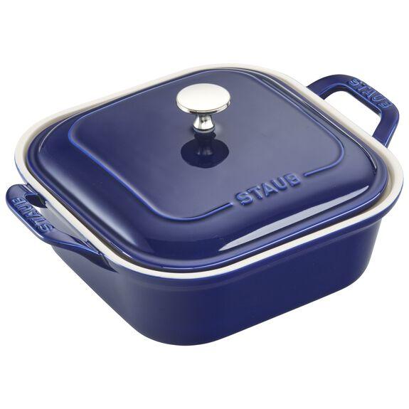 Ceramic Square Covered Baking Dish, Dark Blue,,large