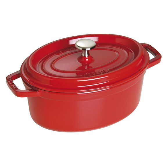 Cocotte 23 cm, oval, Kirsch-Rot, Gusseisen,,large