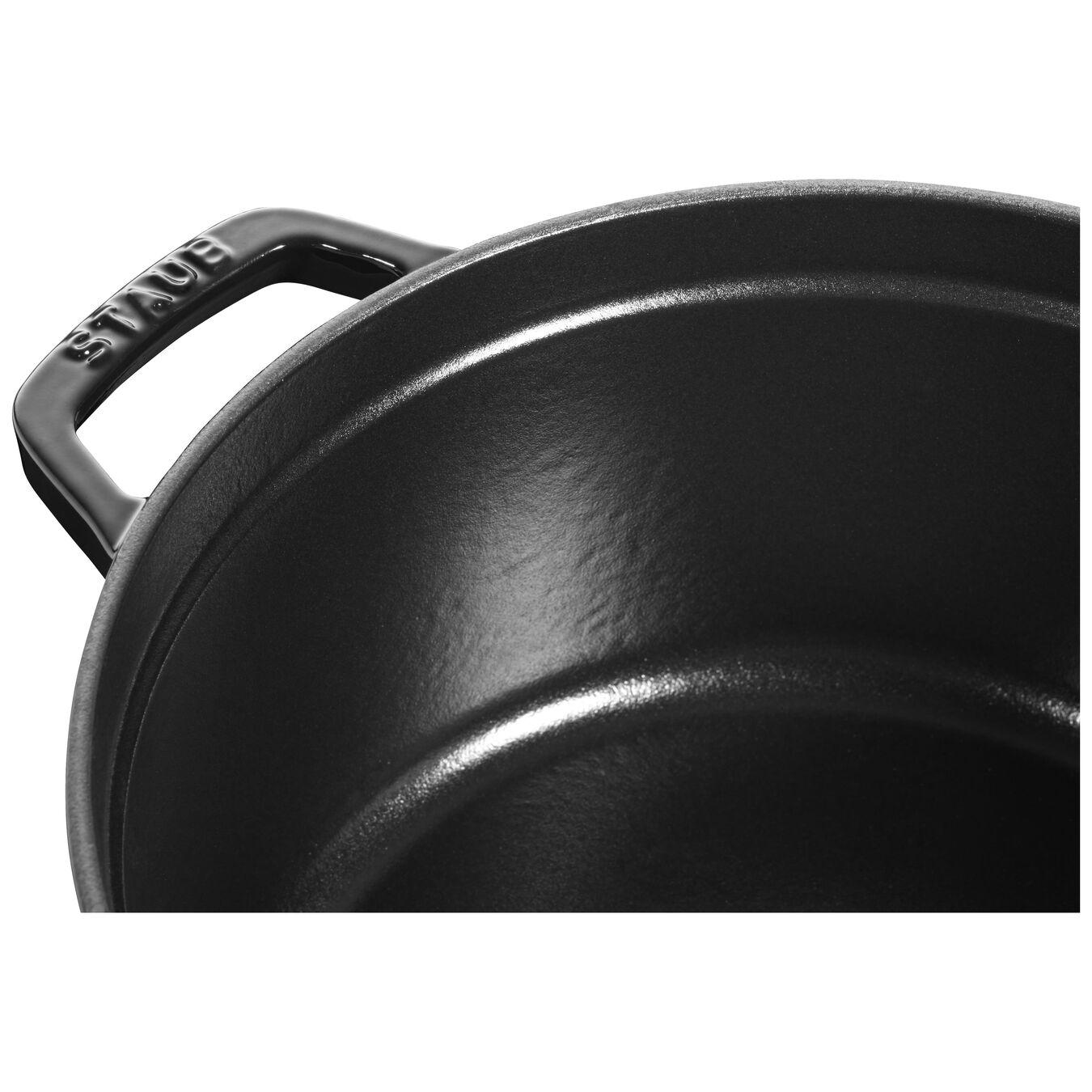 3.75 l Cast iron round Cocotte, Shiny-Black,,large 2