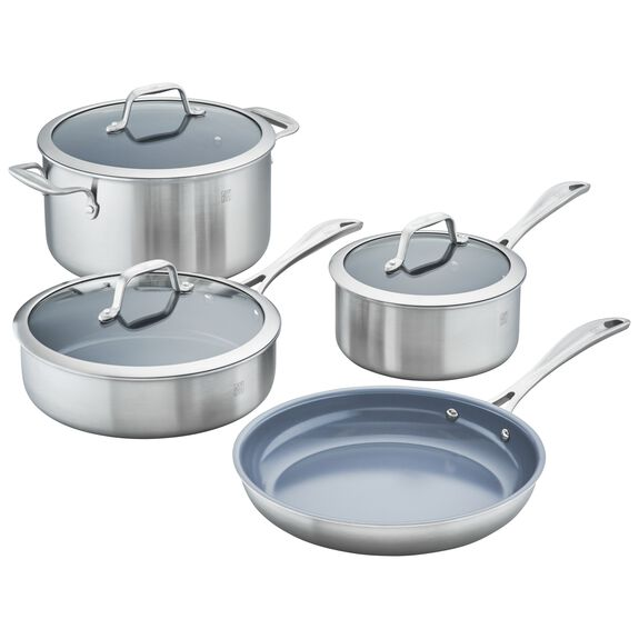 3-ply 7-pc Stainless Steel Ceramic Nonstick Cookware Set,,large