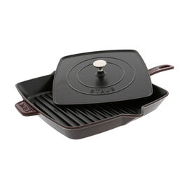 Staub Cast Iron, 12-inch Square Grill Pan & Press Set - Grenadine