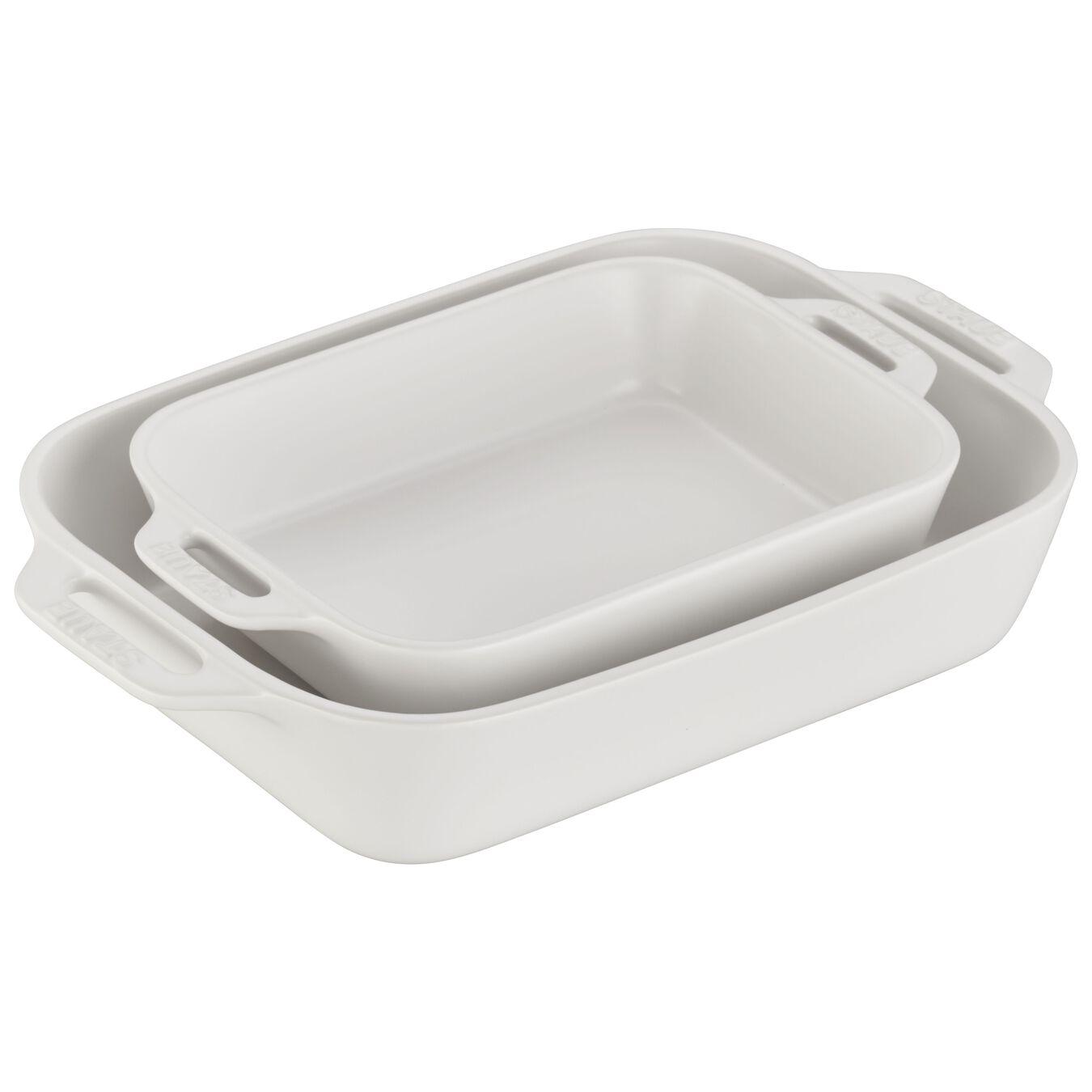 2-pcs rectangular Ensemble plats de cuisson pour le four, Matte-White,,large 1