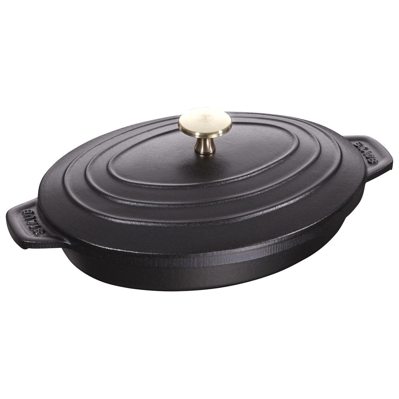 Kapaklı Servis Tabağı  | Döküm Demir | 23 cm | Siyah,,large 1