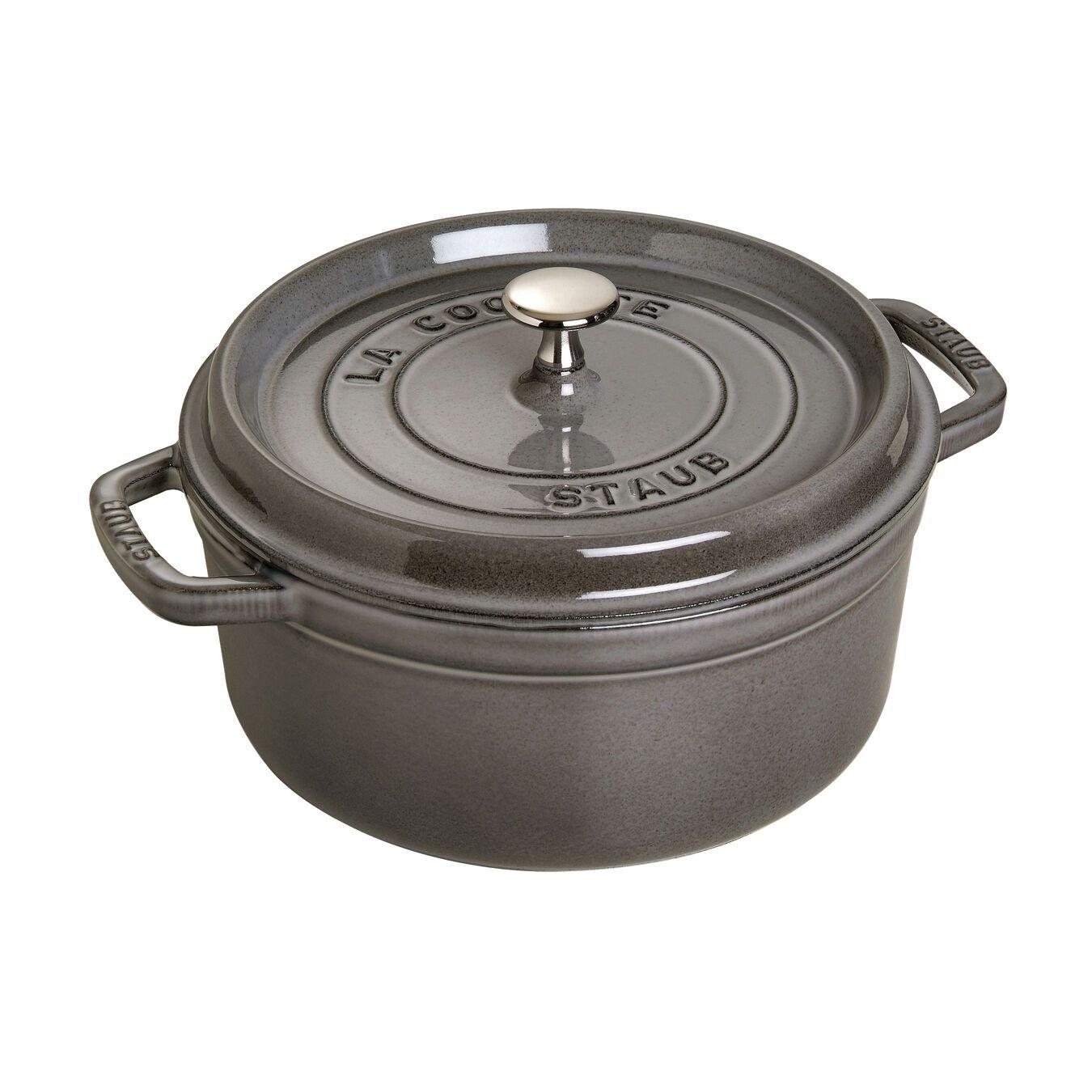 5.5 qt, round, Cocotte, graphite grey,,large 1