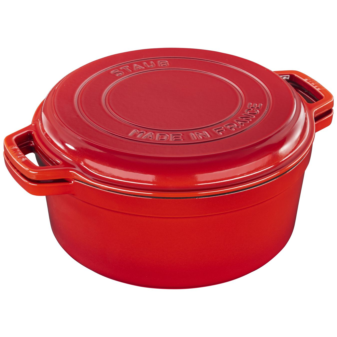 6 l Cast iron round Braise + Grill, Cherry - Visual Imperfections,,large 5