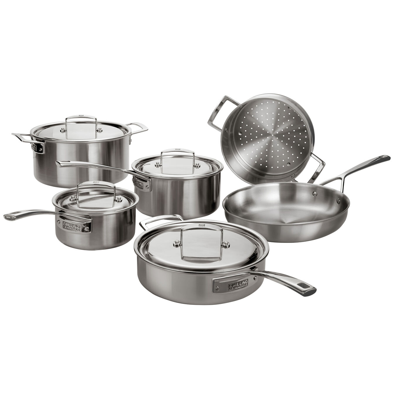 10-pcs 18/10 Stainless Steel Set de casseroles et de poêles,,large 1