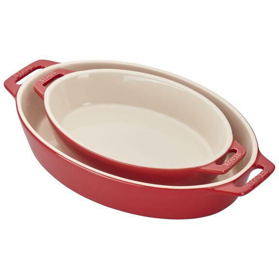 2-pc Oval Baking Dish Set, Cherry, , large