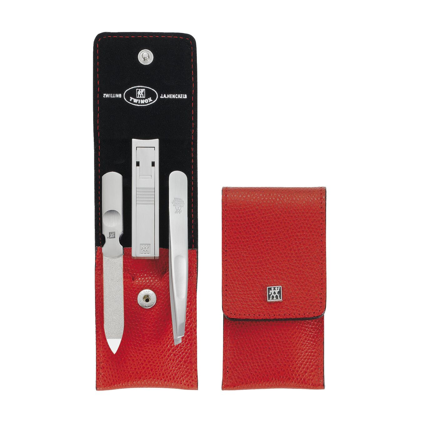 Snap fastener case, 4 Piece   stainless steel   red,,large 2