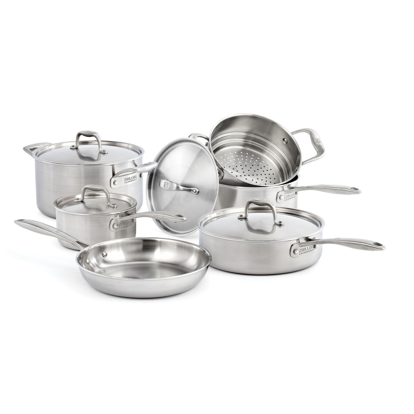 10-pcs 18/10 Stainless Steel Ensemble de casseroles et poêles,,large 1