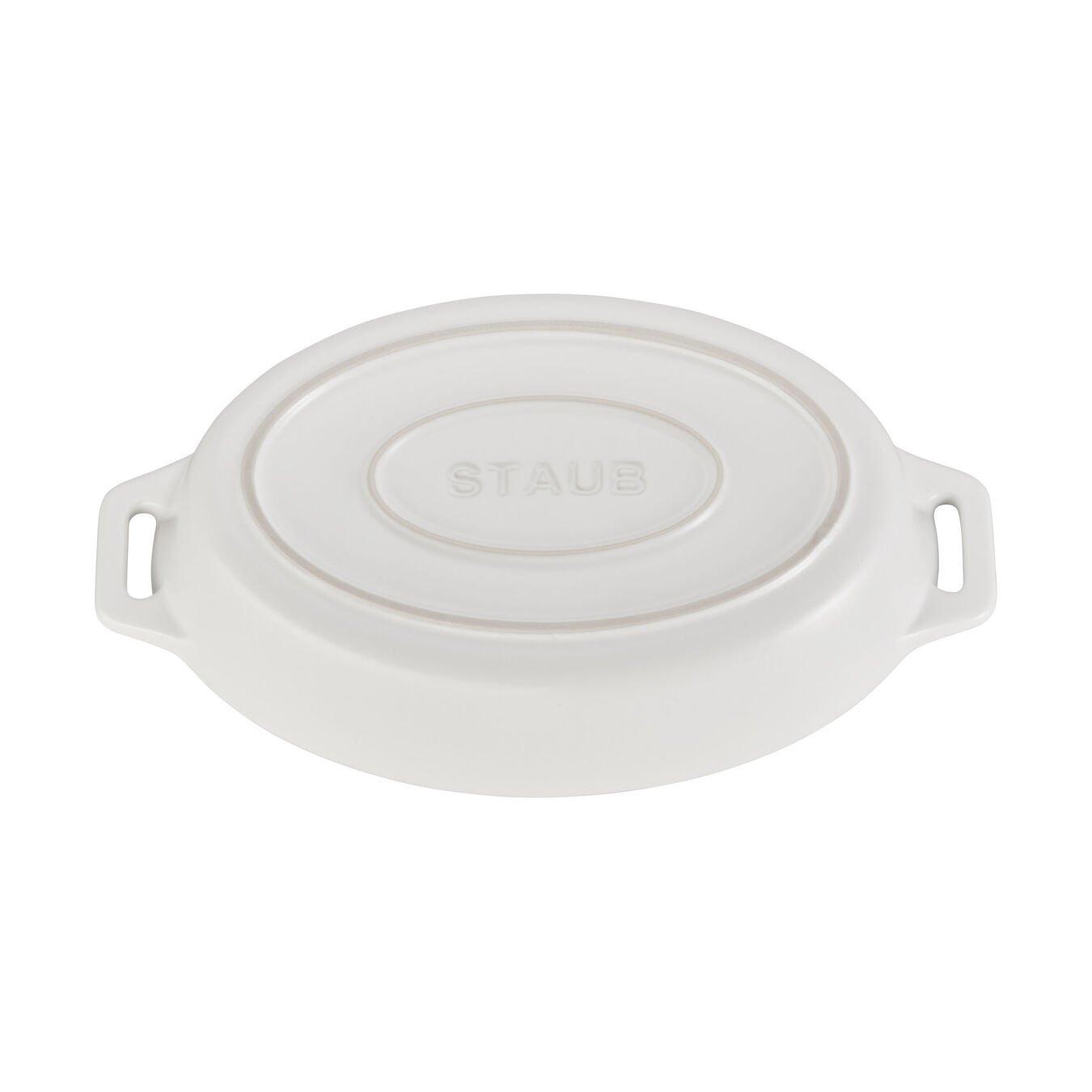 Ceramic oval Plat empilable, Matte-White,,large 3