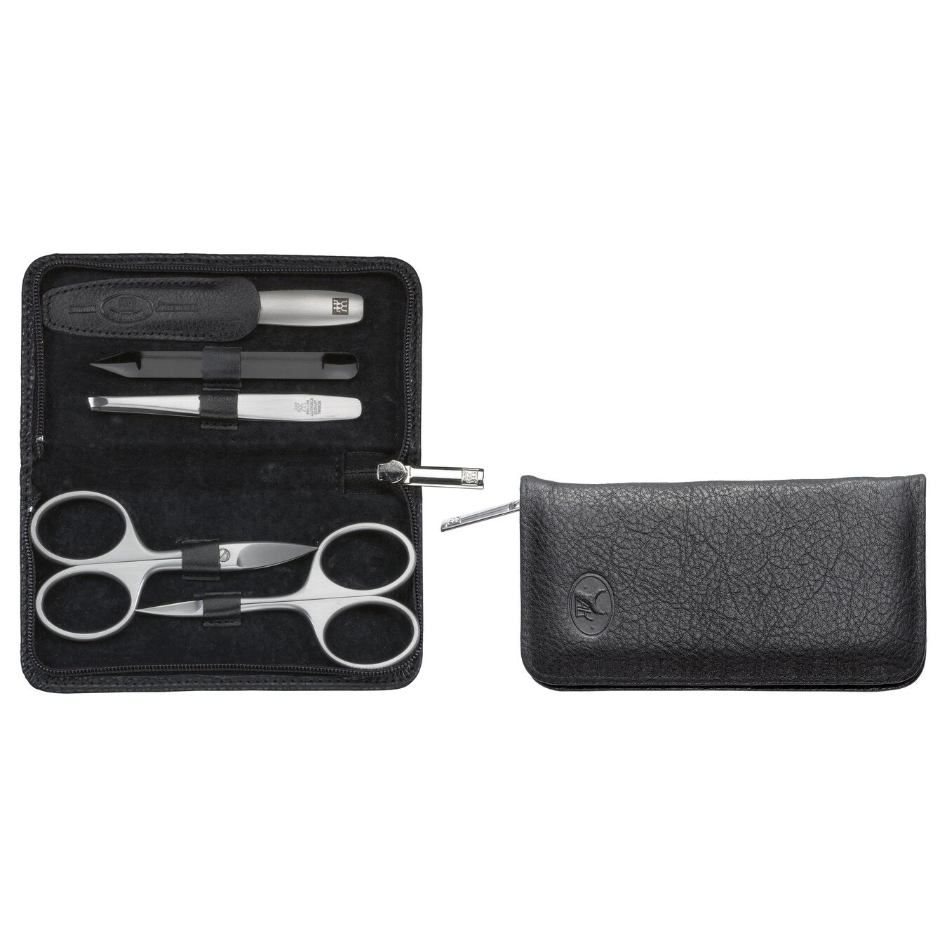 Zip fastener case, 5 Piece | Yak leather | Black,,large 2
