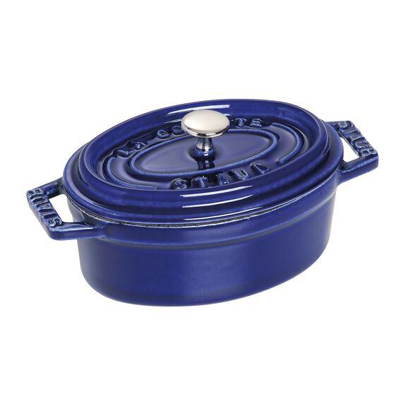 Mini Döküm Tencere, 11 cm | Koyu Mavi | Oval | Döküm Demir,,large