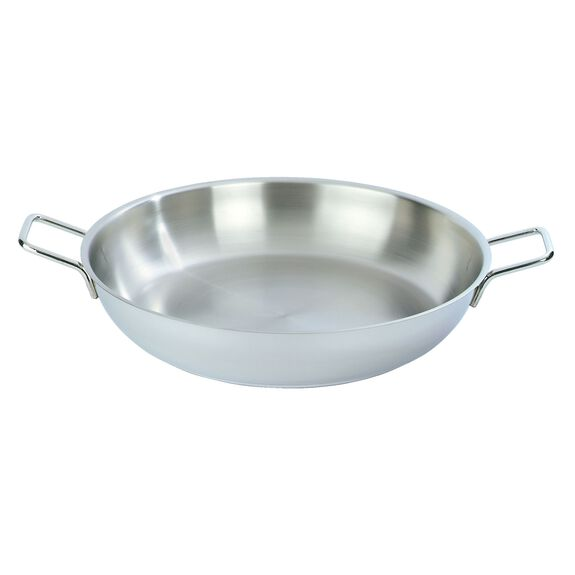 18-inch round  Paella pan without lid, Silver,,large