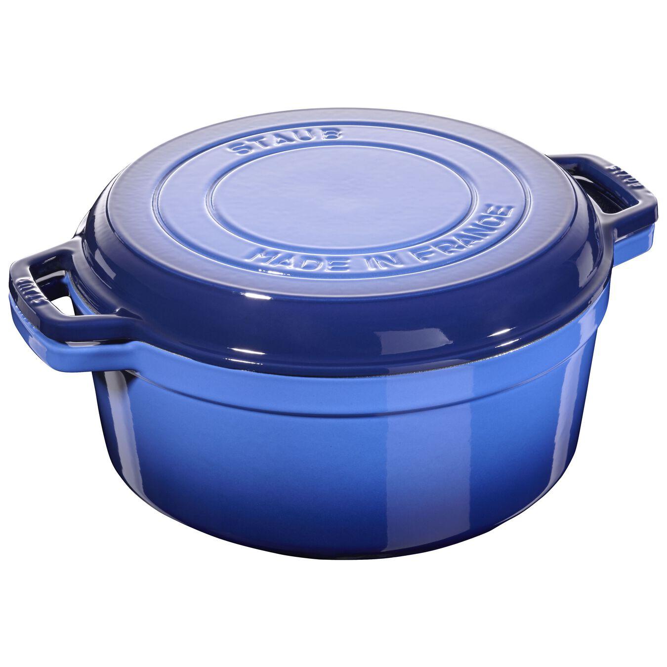 Cocotte et gril 28 cm, Bleu roi, Fonte,,large 1