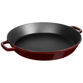 Staub Cast Iron, 15-inch Double Handle Fry Pan / Paella Pan - Grenadine