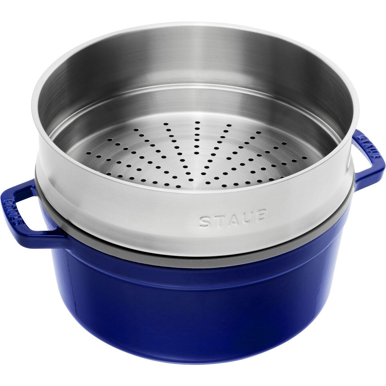 Cocotte con cestello a vapore rotonda - 26 cm, blu scuro,,large 3
