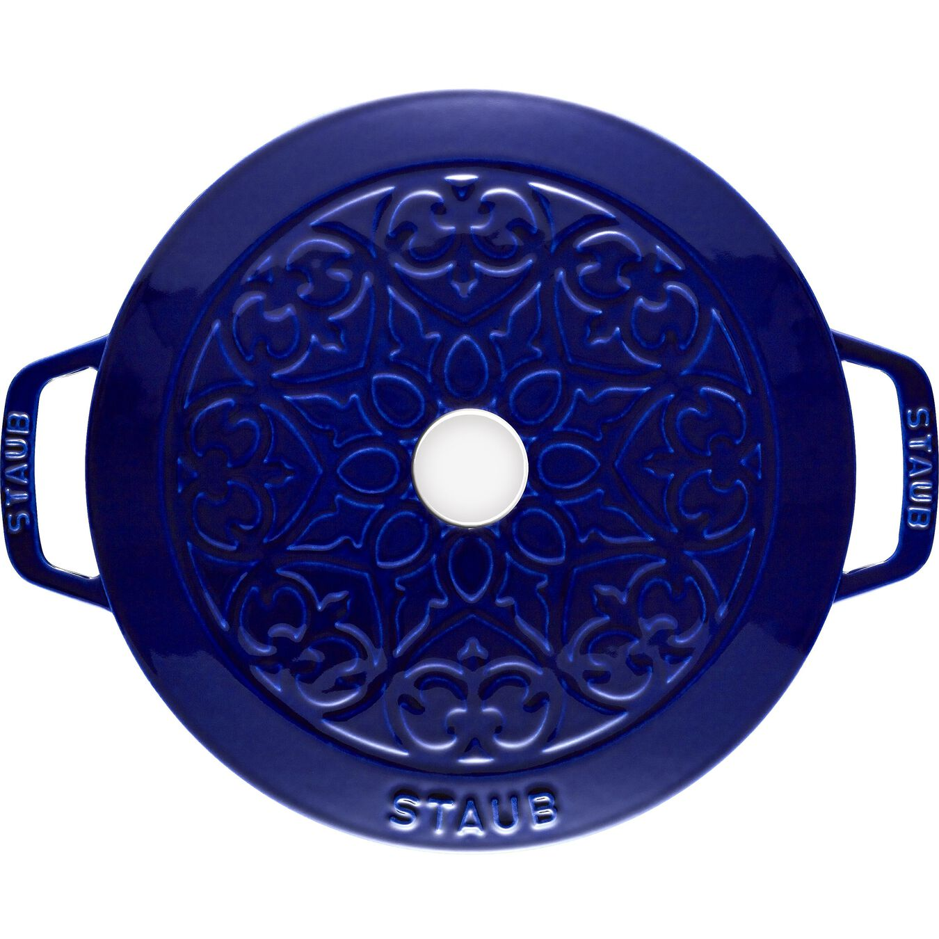 5 l Cast iron round French oven, lily decal, dark-blue,,large 3