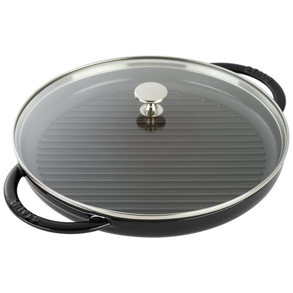 10-inch Enamel Grill pan with glass lid,,large 2