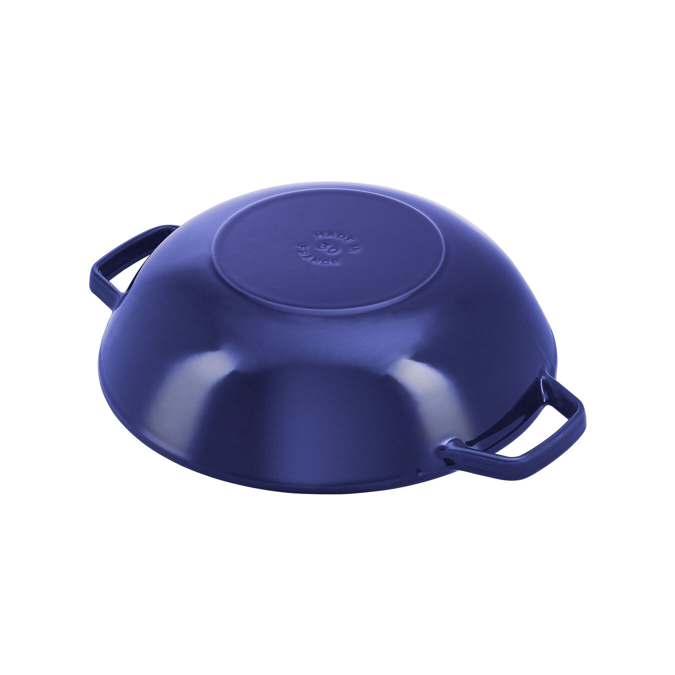 30 cm Cast iron Wok with glass lid, Dark-Blue,,large 4