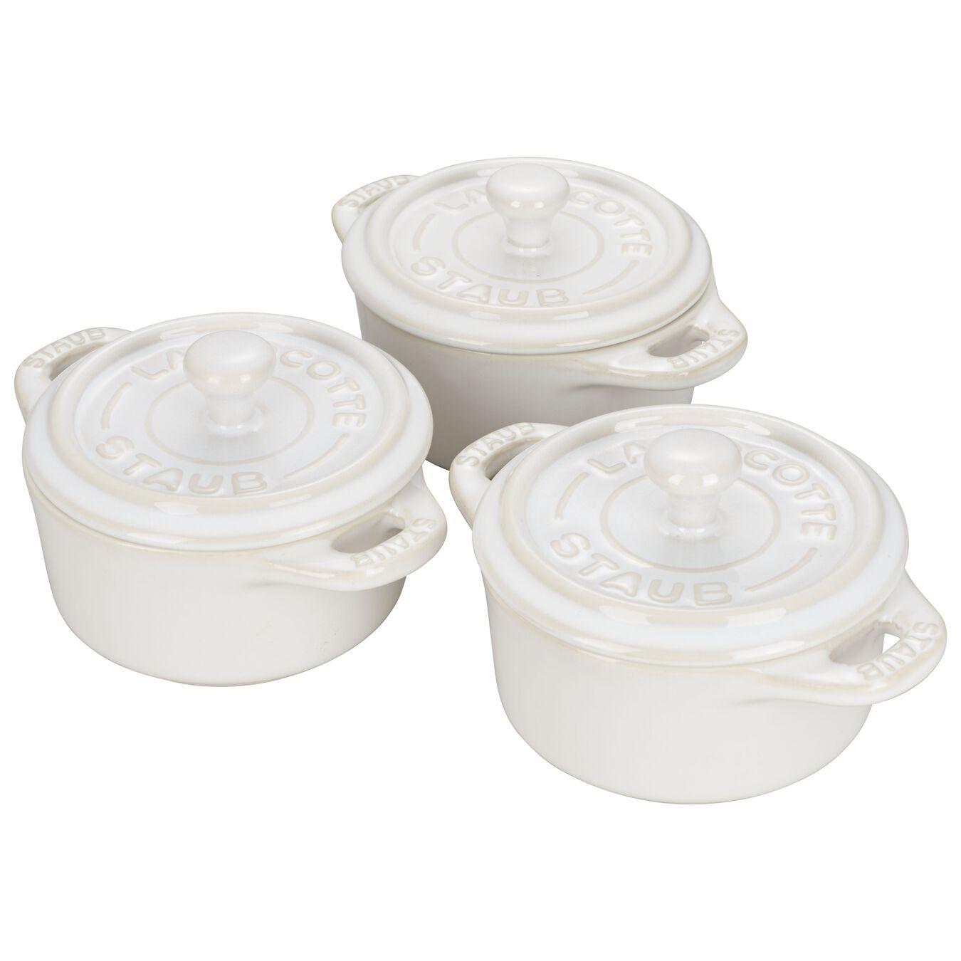 3-pc, Cocotte set, ivory-white,,large 3