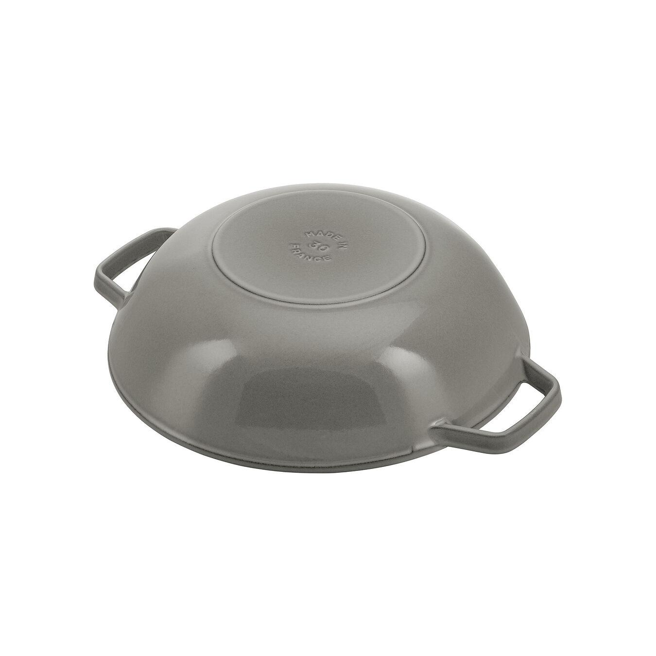 Wok con coperchio in vetro rotondo - 30 cm, grigio grafite,,large 2
