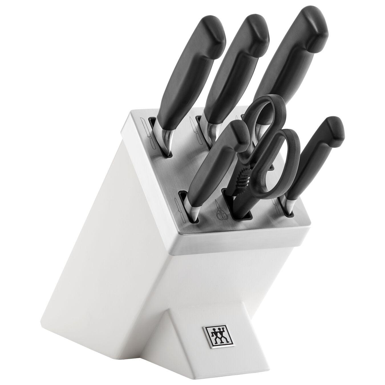 Set di coltelli con ceppo con sistema autoaffilante - 7-pz., bianco,,large 1