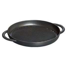 Staub Grill Pans, Pure Grill 26 cm, redondo, Preto, Ferro fundido