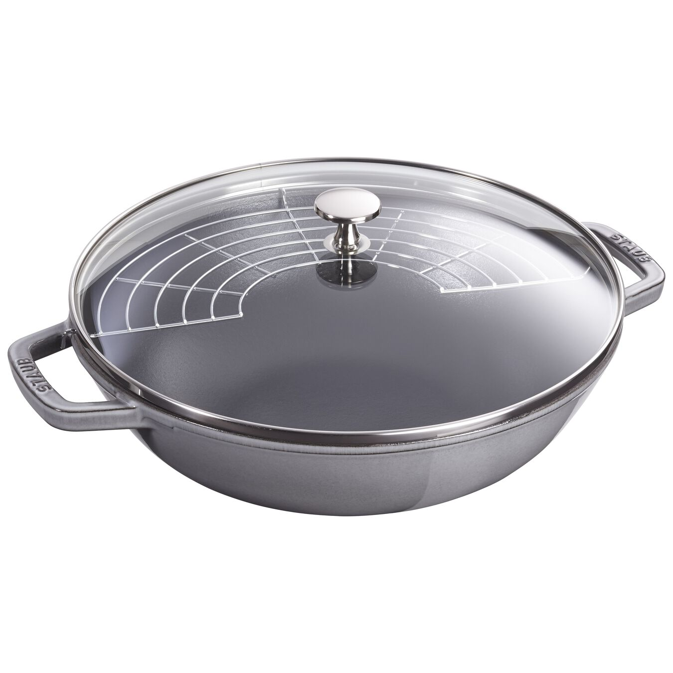 4.75 qt, Wok with glass lid, graphite grey - Visual Imperfections,,large 2