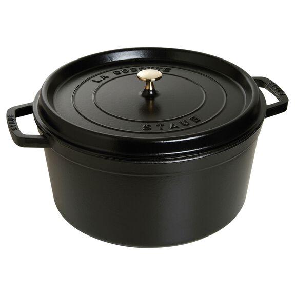 13.25-qt round Cocotte, Black,,large
