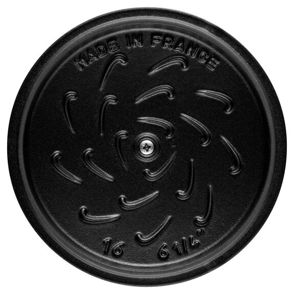 6.3-inch round Cast iron Rice Cocotte, Black,,large 4