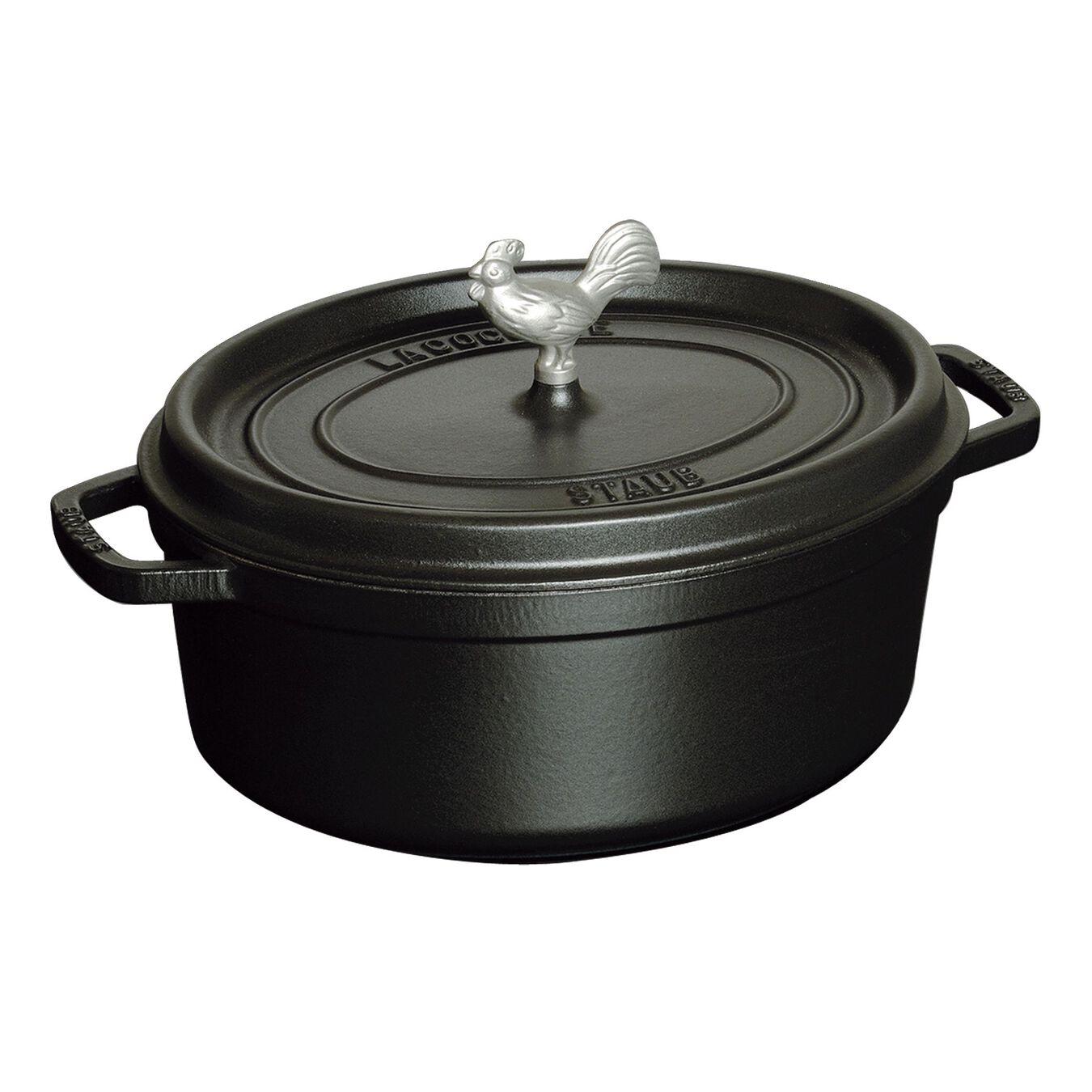 5.5 qt, oval, Coq au Vin Cocotte, black matte,,large 1