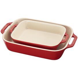 Staub Ceramique, 2 Piece rectangular Bakeware set, Cherry
