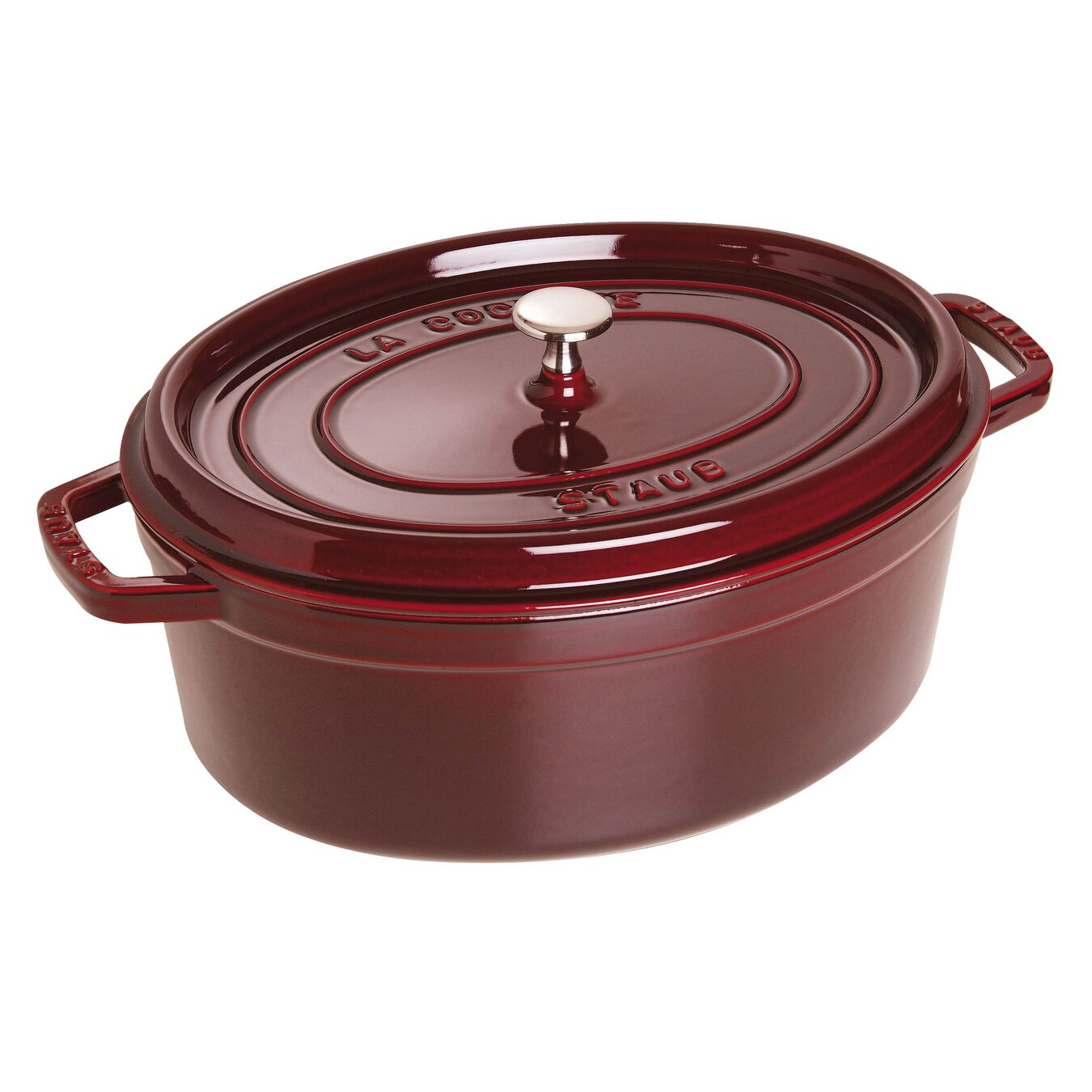 Cocotte 31 cm, oval, Grenadine-Rot, Gusseisen,,large 1