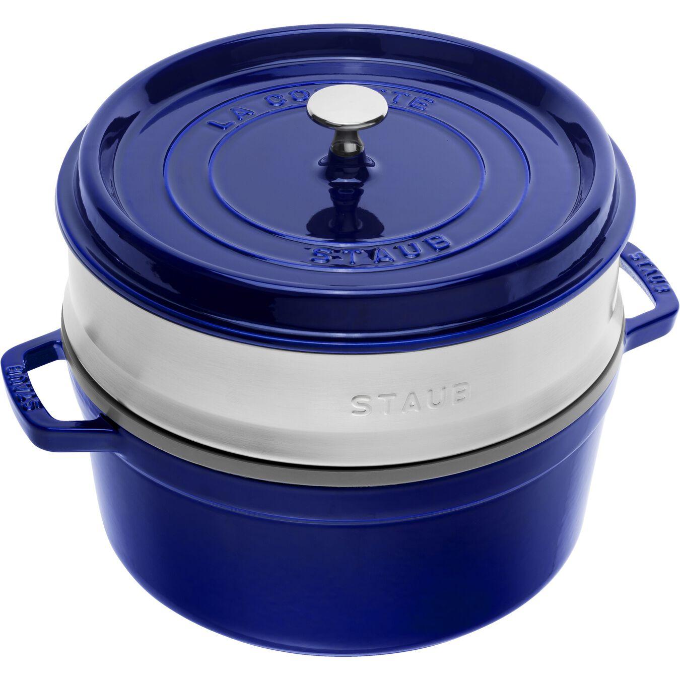 Cocotte con cestello a vapore rotonda - 26 cm, blu scuro,,large 1