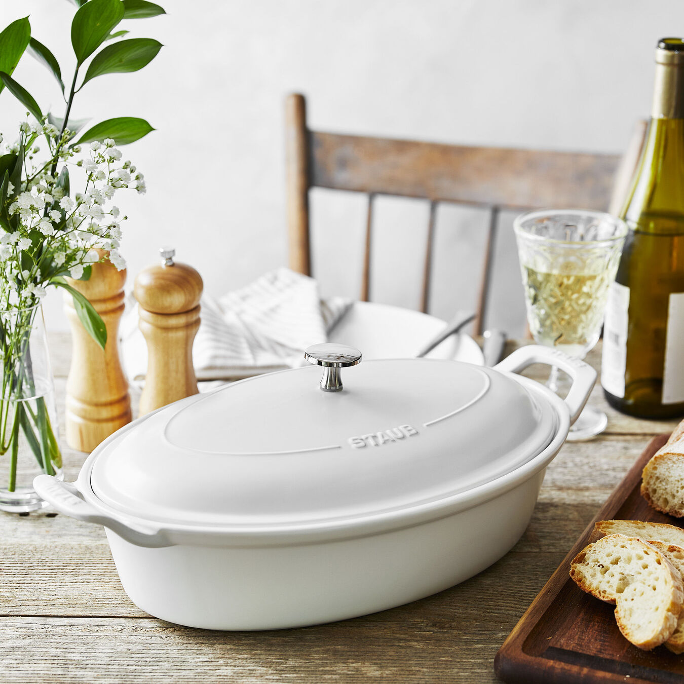 14-inch Oval Covered Baking Dish - Matte White,,large 7