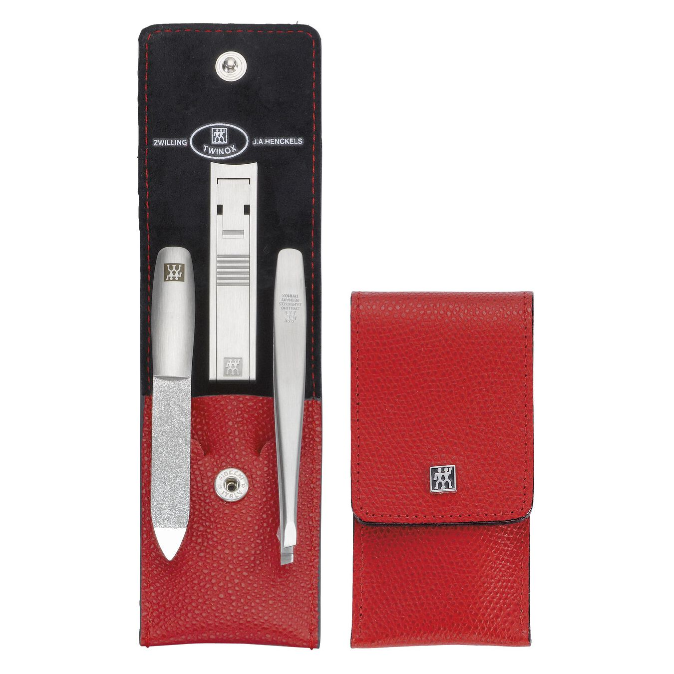 Snap fastener case, 4 Piece   stainless steel   red,,large 3