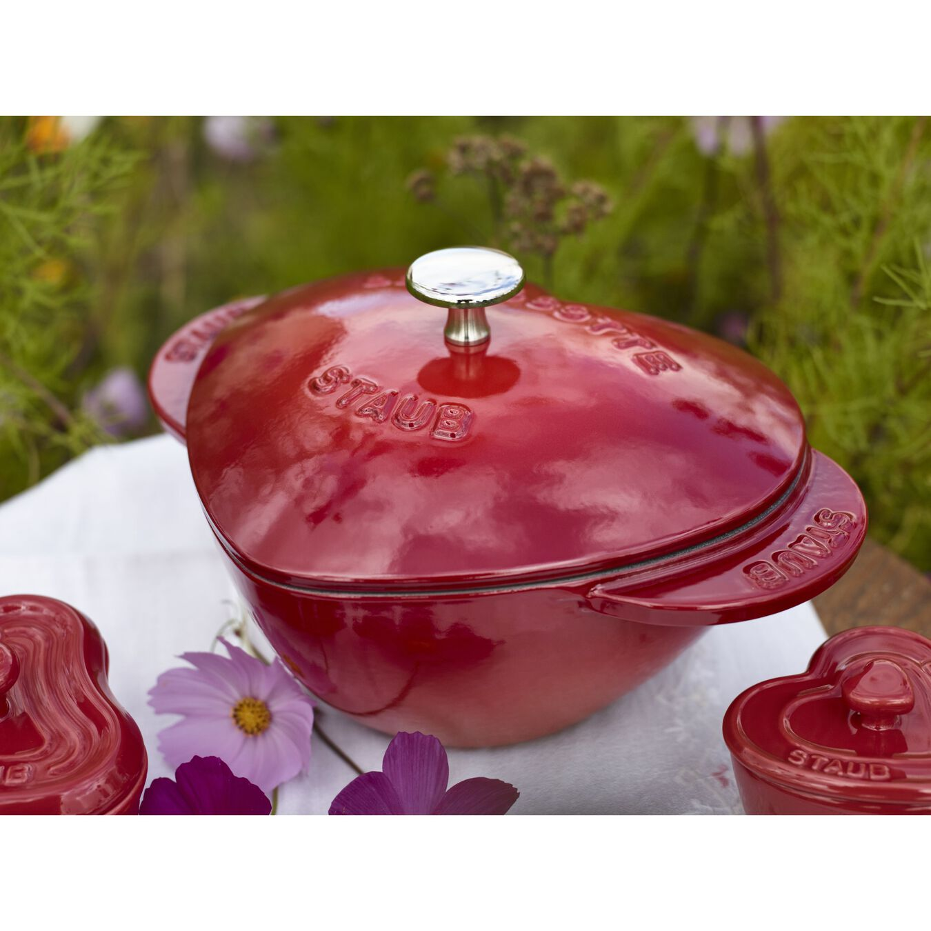 Cocotte 20 cm, Herz, Kirsch-Rot, Gusseisen,,large 5