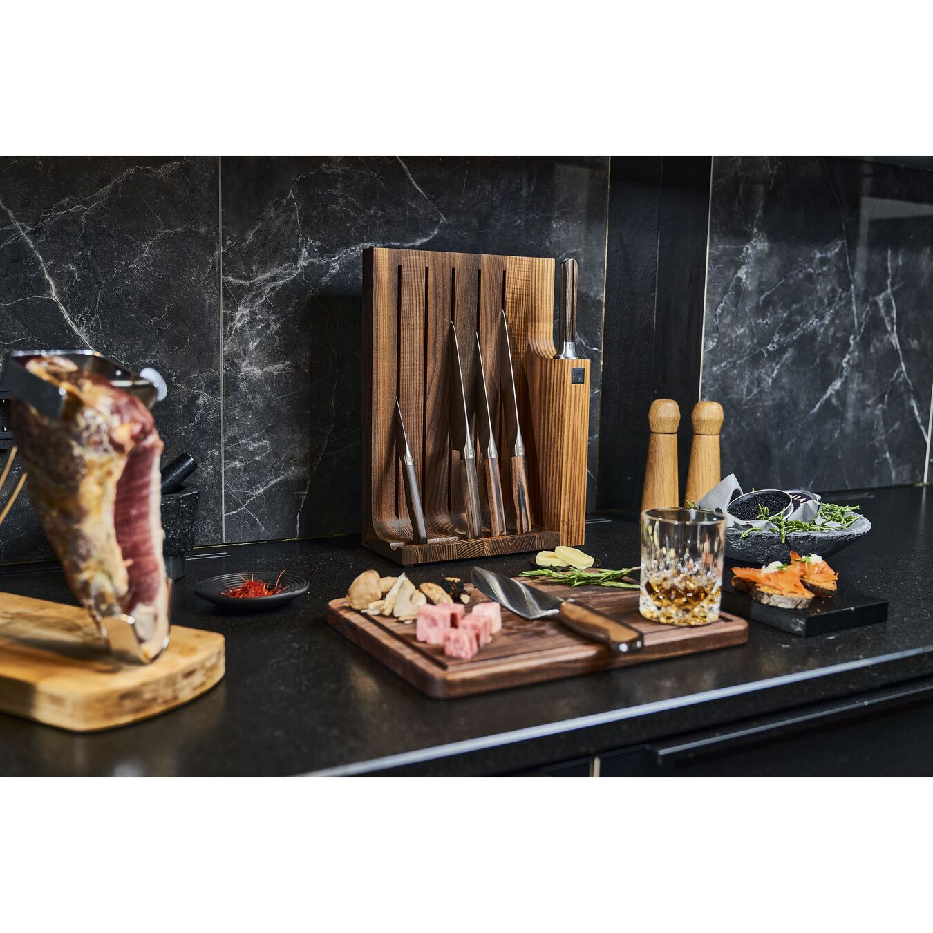 7-pc, Knife block set, brown,,large 2
